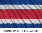 costa rica flag  is depicted on ...   Shutterstock . vector #1117261031