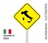 italy traffic signs board... | Shutterstock .eps vector #1117264331