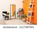 beautiful room interior with... | Shutterstock . vector #1117287041
