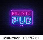music pub neon sign vector.... | Shutterstock .eps vector #1117289411