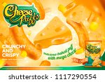 cheese puffs ads with... | Shutterstock .eps vector #1117290554