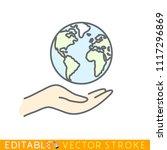 world in caring hand. editable...   Shutterstock .eps vector #1117296869