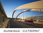 a tram on a bridge in the... | Shutterstock . vector #1117303967