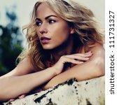 beautiful young blond woman... | Shutterstock . vector #111731327