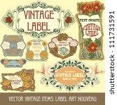 vector vintage items  label art ... | Shutterstock .eps vector #111731591