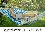 back view of lying young man in ...   Shutterstock . vector #1117321025