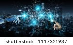 white cyborg hand on blurred...   Shutterstock . vector #1117321937