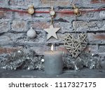 burning candle and christmas... | Shutterstock . vector #1117327175