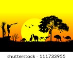 aboriginal australia,animal,australia,background,emu,evening,herd,hot,illustration,jump,kangaroo,koala bear,landmark,landscape,national