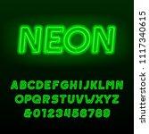 green neon tube alphabet font.... | Shutterstock .eps vector #1117340615