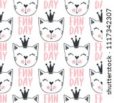 fashion cat seamless pattern.... | Shutterstock .eps vector #1117342307