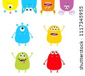 colorful monster silhouette set.... | Shutterstock .eps vector #1117345955
