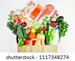 paper bag filled with different ... | Shutterstock . vector #1117348274