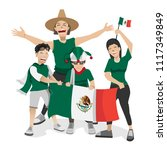 mexico football fans. cheerful... | Shutterstock .eps vector #1117349849