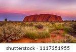 Small photo of Ayers Rock Red Center Australia 10 09 2016 sunset near Uluru