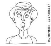 shocked man portrait one line... | Shutterstock .eps vector #1117356857
