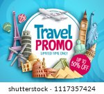 travel promo vector banner... | Shutterstock .eps vector #1117357424