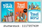travel poster set vector... | Shutterstock .eps vector #1117357439