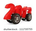 2013 on Wheels isolated on white background - stock photo