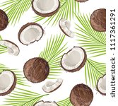 seamless pattern with coconut... | Shutterstock .eps vector #1117361291