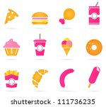 unhealthy food icons isolated...   Shutterstock .eps vector #111736235