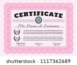 pink certificate template or... | Shutterstock .eps vector #1117362689