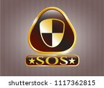 gold badge with shield  safety ... | Shutterstock .eps vector #1117362815