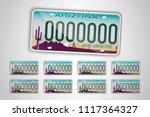 set arizona auto license plate. ... | Shutterstock .eps vector #1117364327