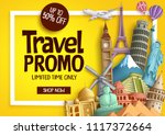 travel promo vector banner... | Shutterstock .eps vector #1117372664