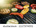 delicious grilled meat with... | Shutterstock . vector #1117374551