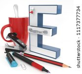 """e"" 3d letter with office stuff ... 