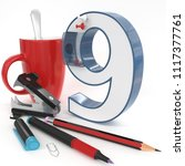 """nine"" 3d number with office... 