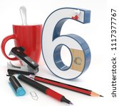 """six"" 3d number with office... 