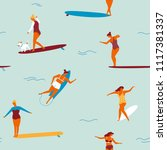 surfer girls catching waves in... | Shutterstock .eps vector #1117381337