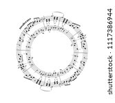 music notes on stave in round...   Shutterstock .eps vector #1117386944