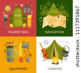 equipment for camping 2x2... | Shutterstock .eps vector #1117391867
