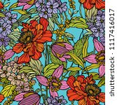 seamless pattern with flowers... | Shutterstock .eps vector #1117416017
