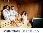 people relaxing in sauna | Shutterstock . vector #1117418777
