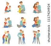 happy parents embracing their... | Shutterstock .eps vector #1117424924
