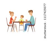 mom  dad and their son sitting...   Shutterstock .eps vector #1117425077