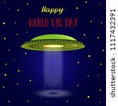 world ufo day. flying saucer ... | Shutterstock .eps vector #1117432391