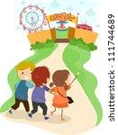 illustration of excited kids... | Shutterstock .eps vector #111744689