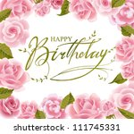 roses frame for  birthday ... | Shutterstock .eps vector #111745331