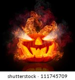 burning halloween pumpkin ... | Shutterstock . vector #111745709