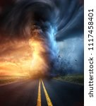 a powerful supercell storm at... | Shutterstock . vector #1117458401