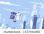 unmanned drone courier fly... | Shutterstock .eps vector #1117462481