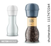 glass pepper mill with label.... | Shutterstock .eps vector #1117472264
