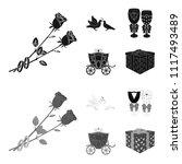 wedding and attributes cartoon  ...   Shutterstock .eps vector #1117493489