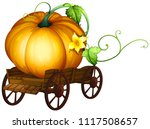 a big pumpkin on wooden cart... | Shutterstock .eps vector #1117508657