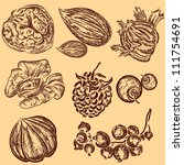 retro hand drawn nuts and some... | Shutterstock .eps vector #111754691